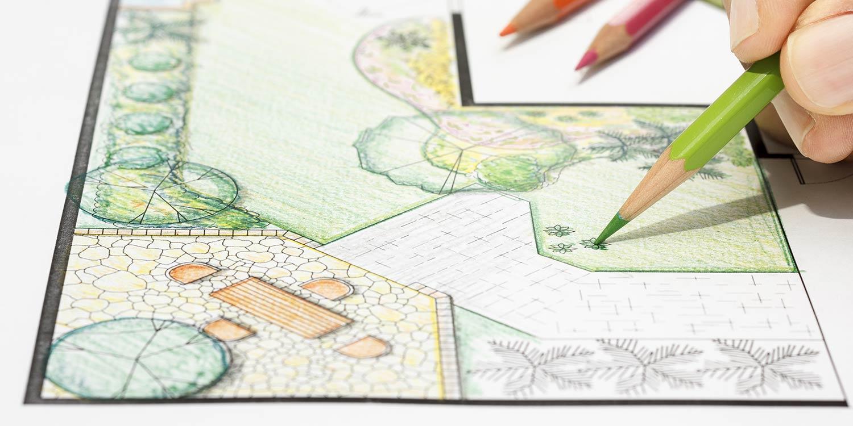sketching a blueprint of garden