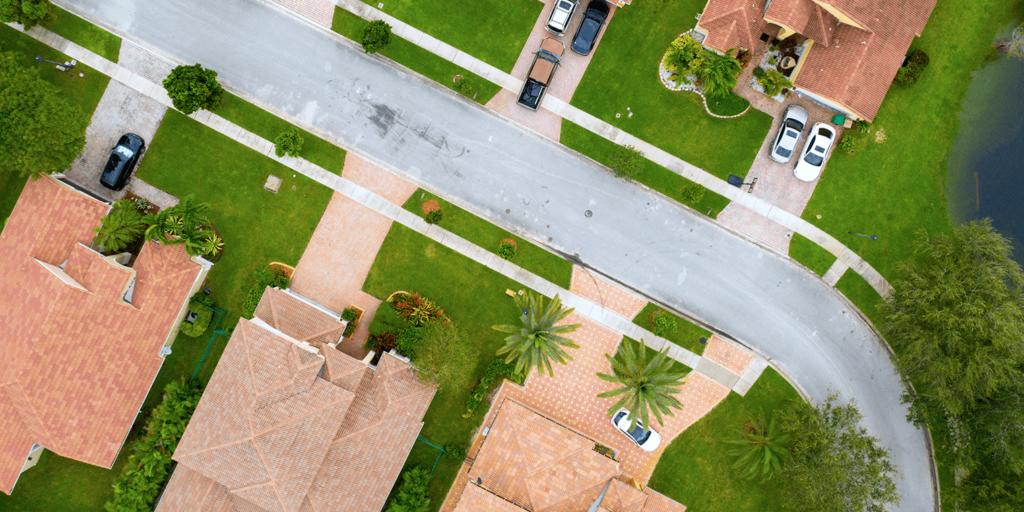 living color garden center goodbye lawn new landscape gravel tropical suburban neighborhood overhead view